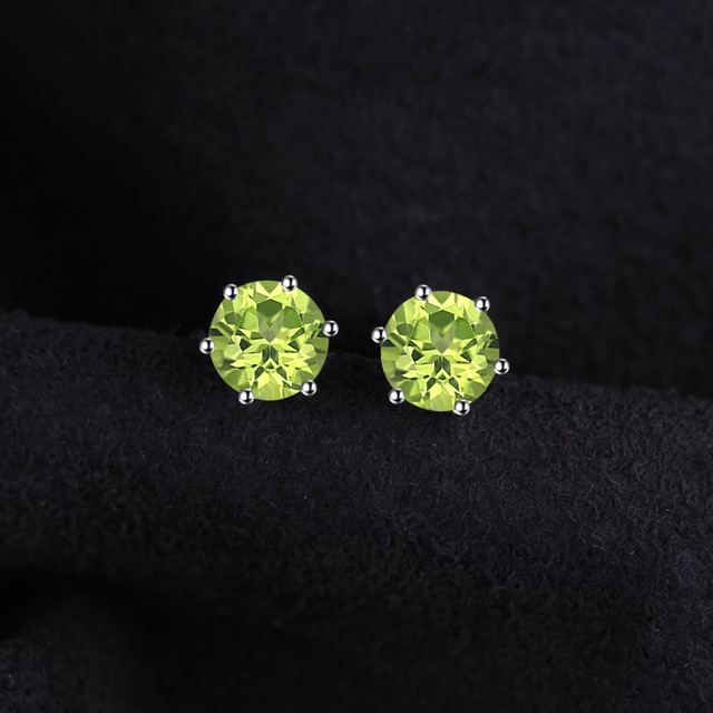 JewelryPalace Natural Peridot Stud Earrings Genuine 925 Sterling Silver Jewelry Fabulous Vintage Gemstone Jewelry Brand New