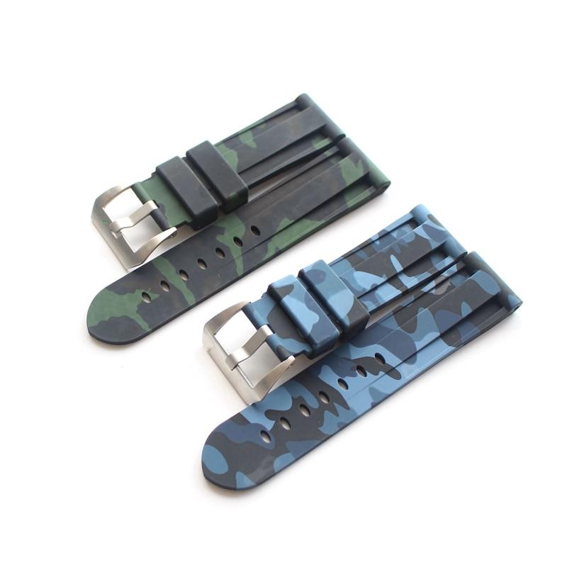 TJP 24mm Camo Blue Green Mens Waterproof Silicone Rubber Watchbands For PAM111 Pam Panerai Big Pilot