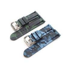 TJP 24mm Camo Bleu Vert Hommes Étanche Bracelets En Caoutchouc de Silicone Pour PAM111 Pam/Panerai Big Pilot Montre Bracelet sans Logo