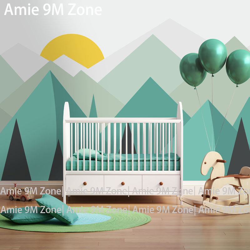 Pure green mountain art wallpaper mural on the wall for for Children s mural wallpaper