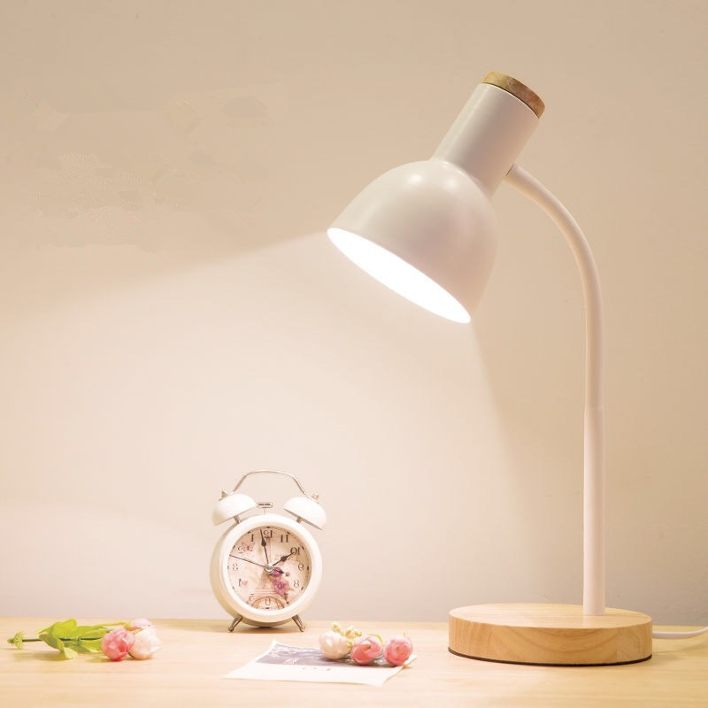 Nordic Simple Style Reading Lamp LED Eye Protect Wood Iron Button Switch Desk Lamp E27/E14 Self ballasted Lamp