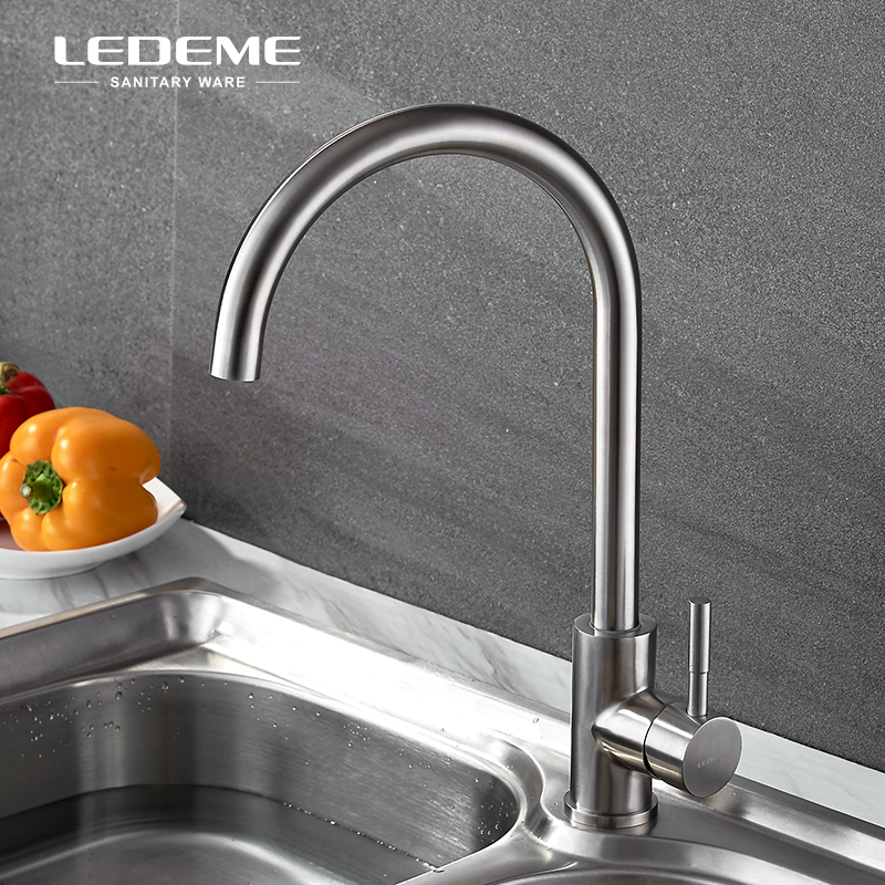 LEDEME Stainless Steel Kitchen Sink Faucet Nickel Brushed One-Handle Cold and Hot kitchen Bar Water Mixer Taps L4998-3 цена и фото