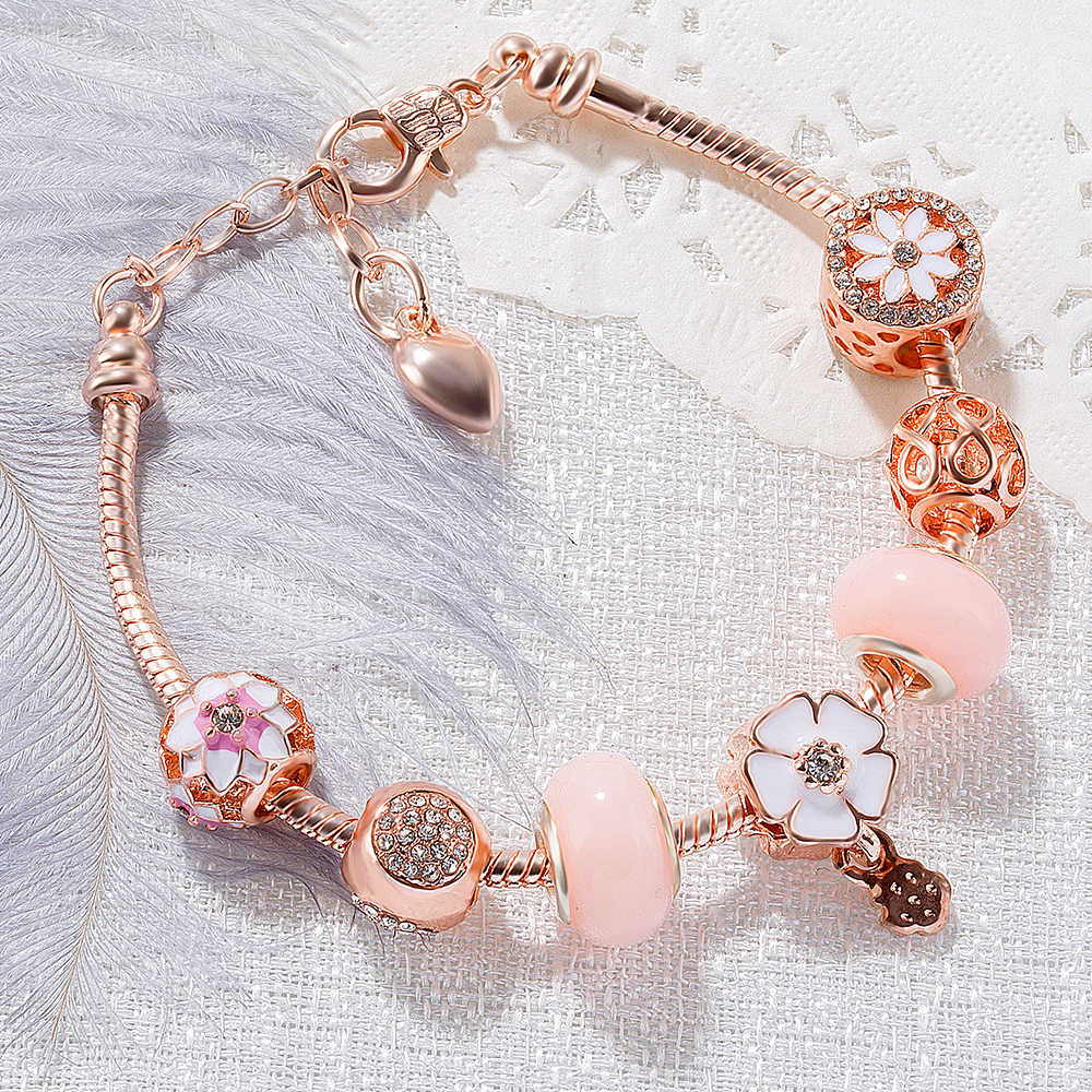 Fashion Charm Gold Snake Chain Crystal Bracelet Robot Cherry Blossom Heart Key Pendant DIY Charm Women Jewelry Bangles Girl Gift