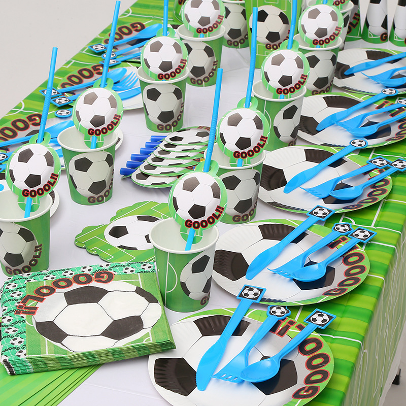 10pcs lot Paper Plate Soccer Football theme Kids Favor Boys Happy Birthday Party Decoration Paper Plate 7inch Party Supplies in Disposable Party Tableware from Home Garden