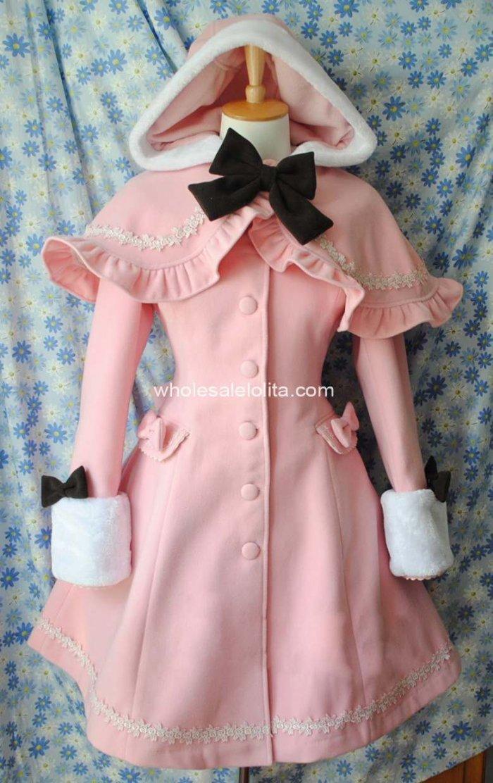 Manteau Rose Vente Gothique 4xl Chaude Xlcoat Chapeau 6 amp; Hiver Lolita Personnalisable Manteaux 5xl Laine Et Cape ffvwqAxr