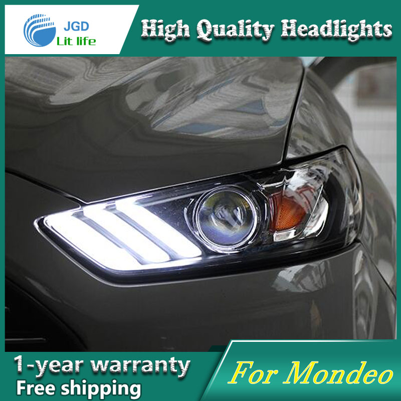 high quality Car styling case for Ford Mondeo Headlights LED Headlight DRL Lens Double Beam HID Xenon car accessories hireno headlamp for 2016 hyundai elantra headlight assembly led drl angel lens double beam hid xenon 2pcs