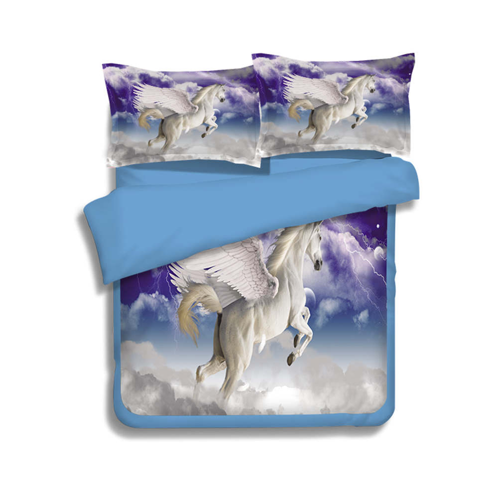 Horse bedding for girls - 3d White Horse Animal Printed Duvet Quilt Cover King Queen Twin Size Wing Fly Unicorn Children Girls Bedding Sets 3 4pcs Woven