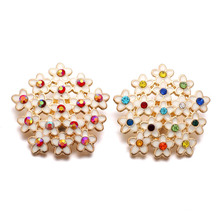 10pcs/lot Beautiful Flower Gold Snap Jewelry Rhinestone Metal Snap fit Charm 18mm Snap Buttons Bracelet Bangle Jewelry Accessory