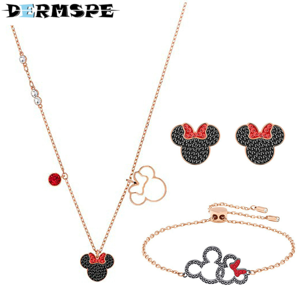 DERMSPE 2018 new fashion accessories, fashion necklace, female clavicle chain jewelry Ms pendant, color design, rose fashion rose flower shaped diamond pendant chain necklace