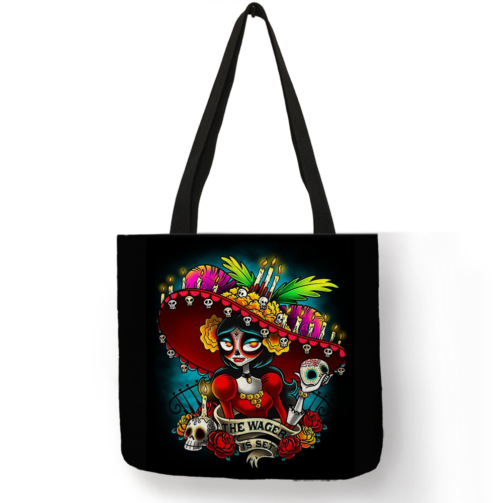 Personalized Skull Princess Women Tote Bags With Skeleton Print Reusable Shopping Bags Skull Girl Handbags Traveling School TotePersonalized Skull Princess Women Tote Bags With Skeleton Print Reusable Shopping Bags Skull Girl Handbags Traveling School Tote