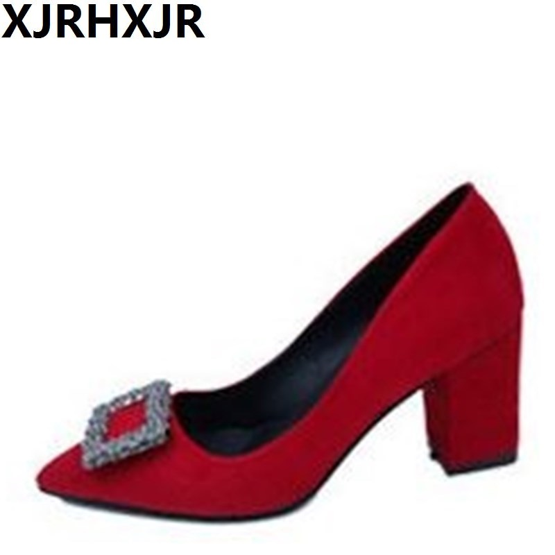 XJRHXJR Ladies Shoes European Luxury Brand High Heels Women Pumps Thick High Heels Shoes Suede Leather Wedding Shoes luxury brand crystal patent leather sandals women high heels thick heel women shoes with heels wedding shoes ladies silver pumps