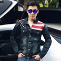 Fashion Mens American Flag Denim Jacket PU Leather Vintage Washed Distressed Antique Jeans Motorcycle Jacket Coat For Men