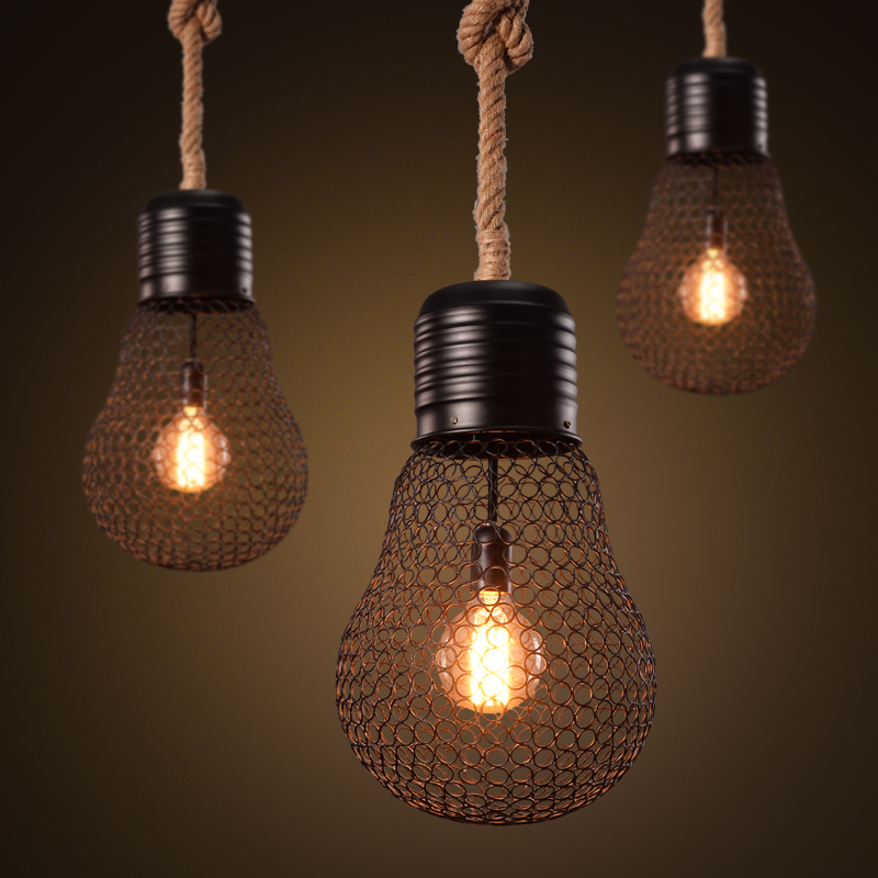 Small rope lights promotion shop for promotional small for Hemp pendant lamp