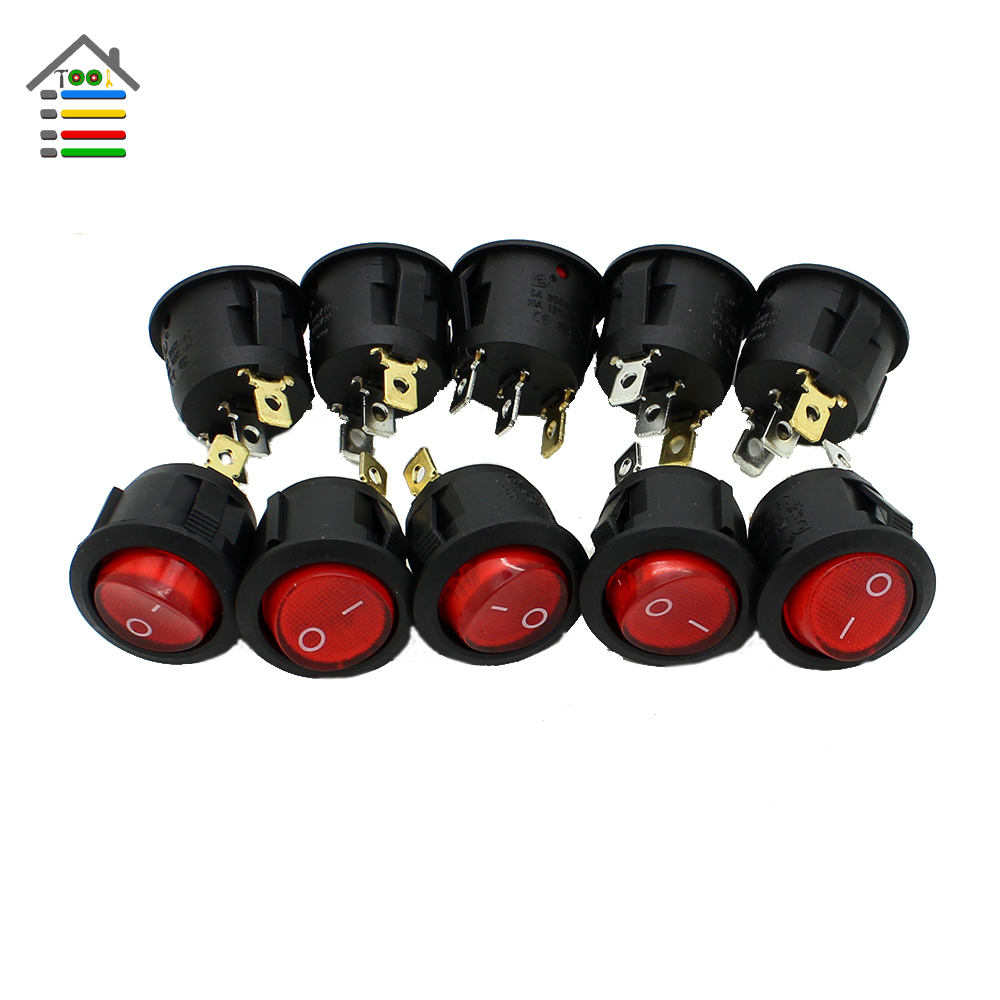 10pcs RED Button Rocker Switch 12V MAX 250V LED Dot Light Car Boat Round Rocker ON/OFF SPST Switches 3 Pins Toggle g126y 2pcs red led light 25 31mm spst 4pin on off boat rocker switch 16a 250v 20a 125v car dashboard home high quality cheaper