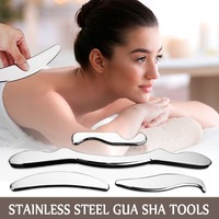 China Traditional Medical Scrapping Plate Healthcare Guasha Board Body Massage Tool 4 PCS Stainless Steel Gua Sha Tools Set