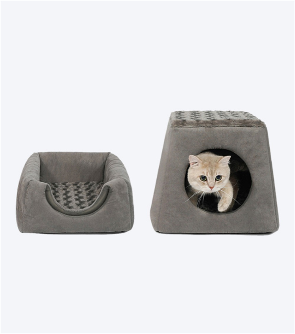 Pet Cat Igloo Bed Small Dog Soft Bed Met House Dual Purpose Covered