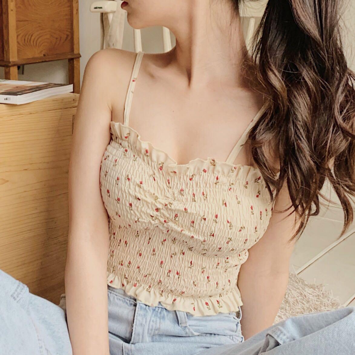 New Spaghetti Strap Print Cute Little Drape   Blouse     Shirt   8897