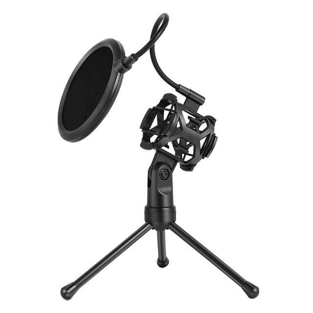 Microphone Pop Filter Holder Stick Desktop Tripod Stand Anti-Spray Net Kit PS-2  ABS + Metal