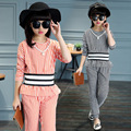 girls clothing sets 2017 spring summer striped suit T-shirt pants two pieces kids tracksuit children clothing set kids clothes