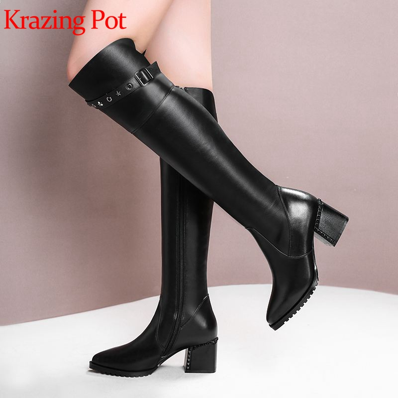 Krazing Pot cow leather stretch thick high heel stovepipe boots women keep warm rivet pointed toe mature over-the-knee boots L35Krazing Pot cow leather stretch thick high heel stovepipe boots women keep warm rivet pointed toe mature over-the-knee boots L35