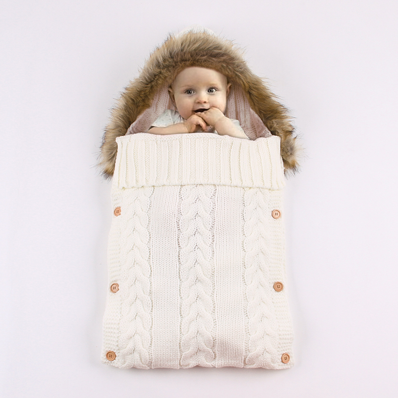 IYEAL Hooded Fur Newborn Baby Sleeping Bags Spring Autumn Outdoor Infant Stroller Sleep Sack Cable Knitted Toddler Swaddle in Sleepsacks from Mother Kids