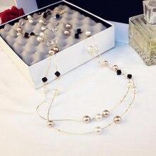 Женское Ожерелье с жемчугом длинное Двухслойное ожерелье чокер