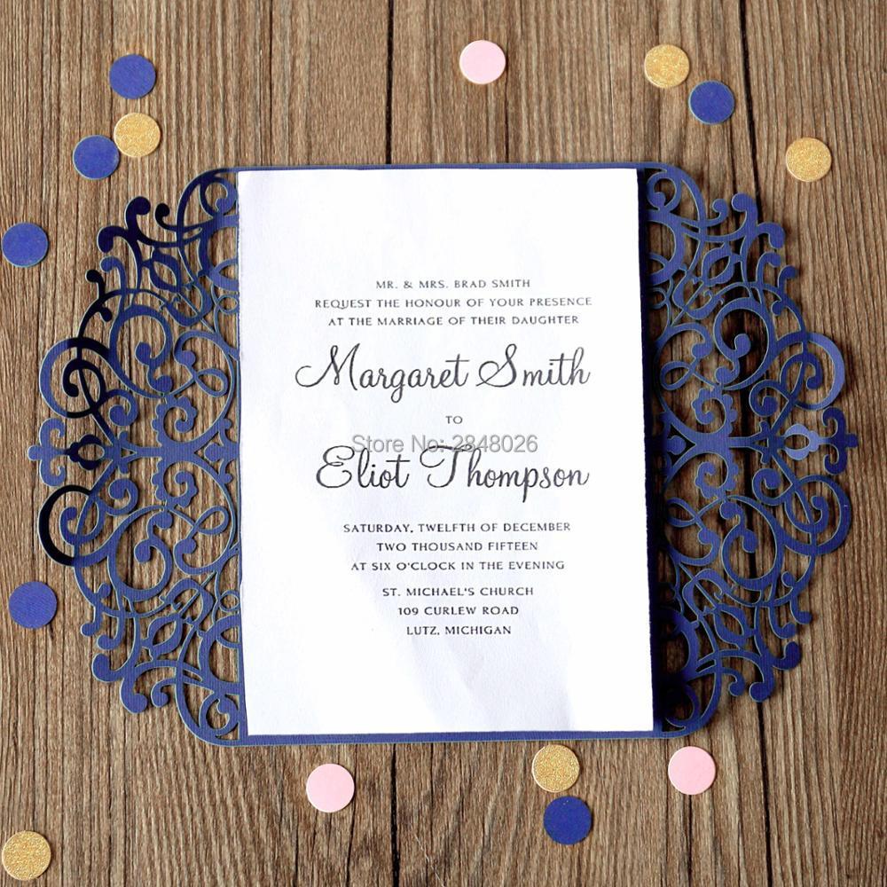 Dark Blue Wedding Invitations: 50pcs Dark Blue Wedding Invitation,laser Cut Custom