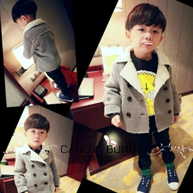 baby boy kids clothes fashion children clothing boys wool villus jacket cotton cardigan 2-7 yrs 2016 autumn winter new coat
