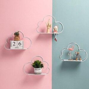 Металлическая железная настенная полка в скандинавском стиле с облаком для детской комнаты, украшение магазина для украшения стен, стеллаж...