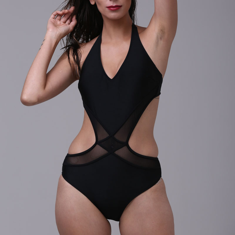 2017 Black Halter Deep V Swimwear Mesh Monokini One Piece Bathing Suit Bandage High Cut Swimsuit Women Swimwear Black Solid sexy deep v neck one piece women bandage swimsuit black brazilian monokini high cut bathing suit bodysuit high waist swimwear
