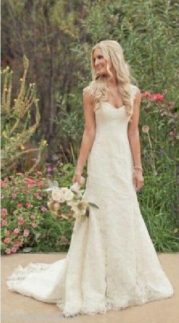 4f2dcfc59e8059 Neue Einfache Design Flügelärmeln Ivory Spitze Meerjungfrau Brautkleider  Brautkleid größe 2 4 6 8 10 12