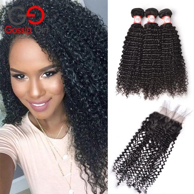 7A Peruvian Virgin Hair With Closure Kinky Curly Virgin Hair With Closure 3 Bundles Curly Weave Human Hair Bundles With Closure