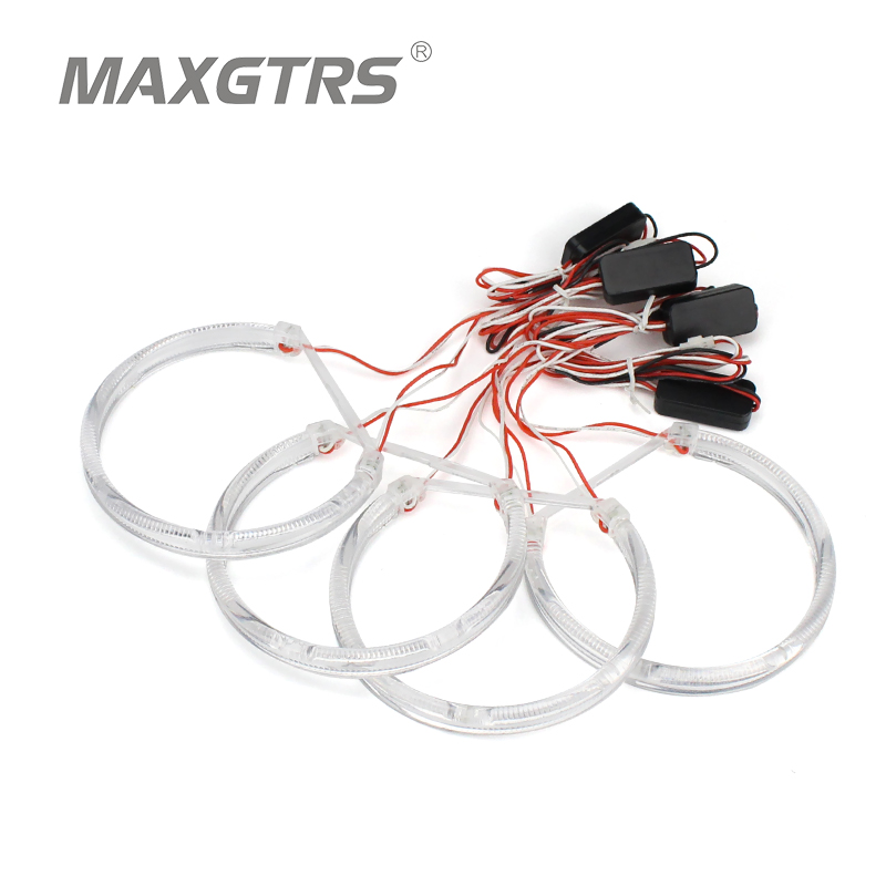 4x 131mm Angel Eyes Kit Light Guide Ring Led Drl Headlight For Bmw