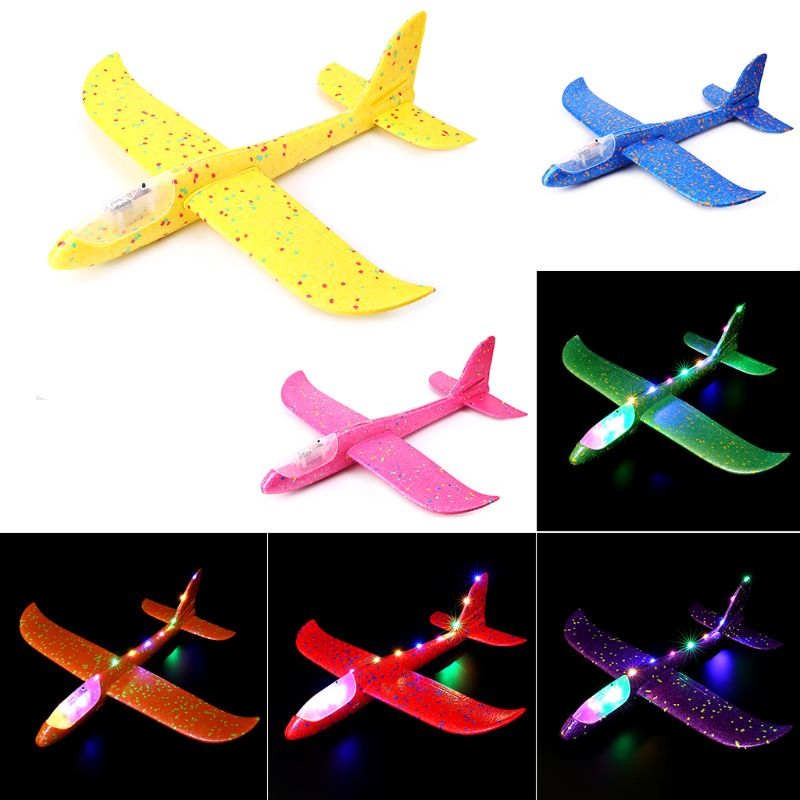 LED Night Airplane Hand Launch Throwing Glider <font><b>Aircraft</b></font> Inertial Foam Airplane Toy Plane <font><b>Model</b></font> Outdoor Educational Toys image