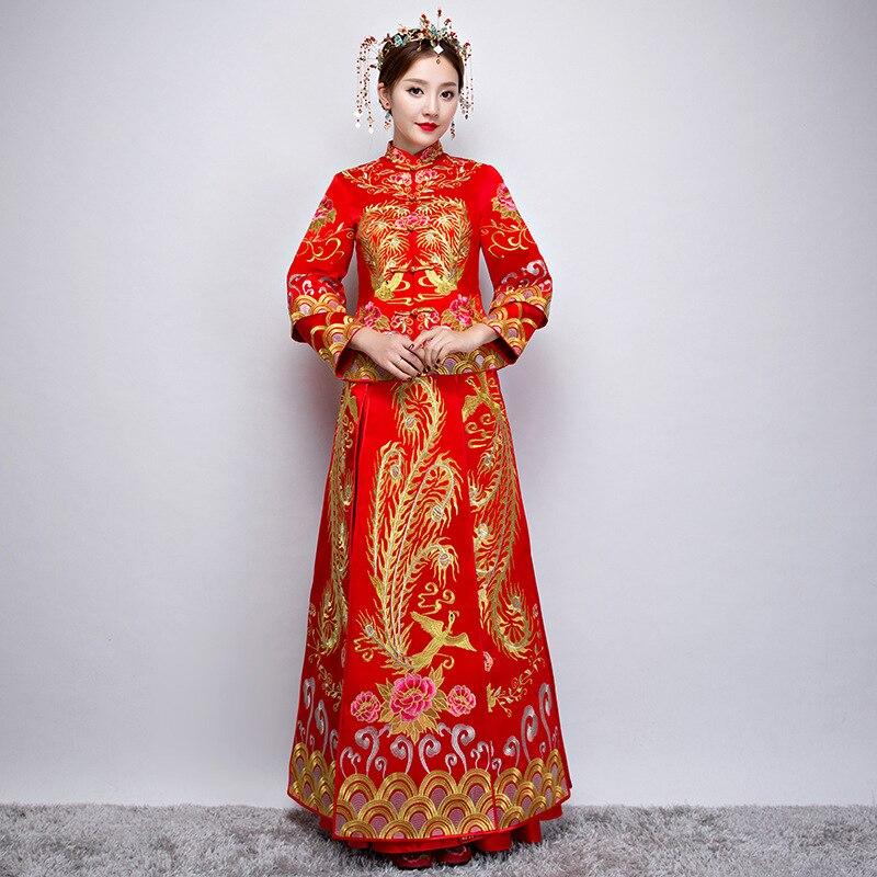 Невесты, традиционные красные Чонсам Ципао китайский женский халат свадебное платье в традиционном китайском стиле платья Vestido Chino Chinees Jurkje