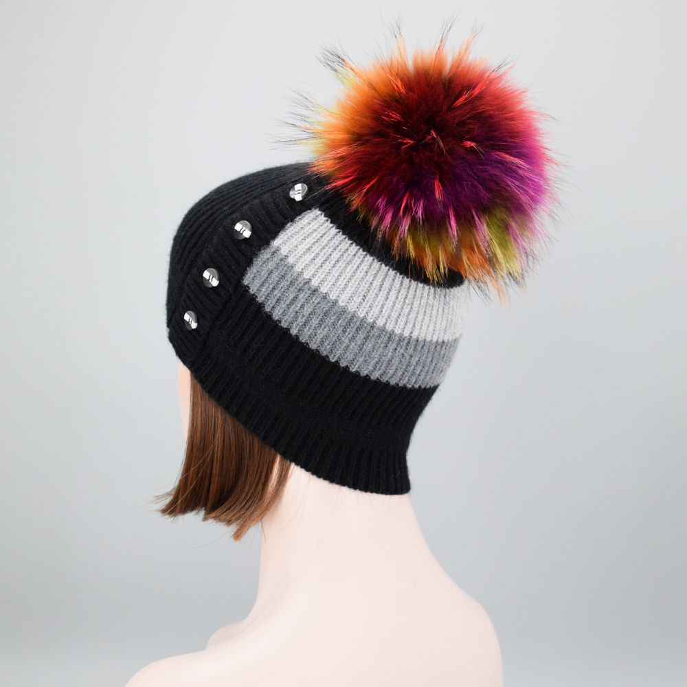 2017 Winter New design multicolored Real Raccoon fur pompoms winter hat for women girl 's wool hat knitted wool beanie cap the new children s cubs hat qiu dong with cartoon animals knitting wool cap and pile