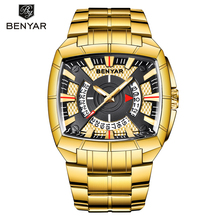2019 New Men Watches BENYAR Top Brand Luxury Mens Watch Business Gold Stainless Steel Clock relogio masculino