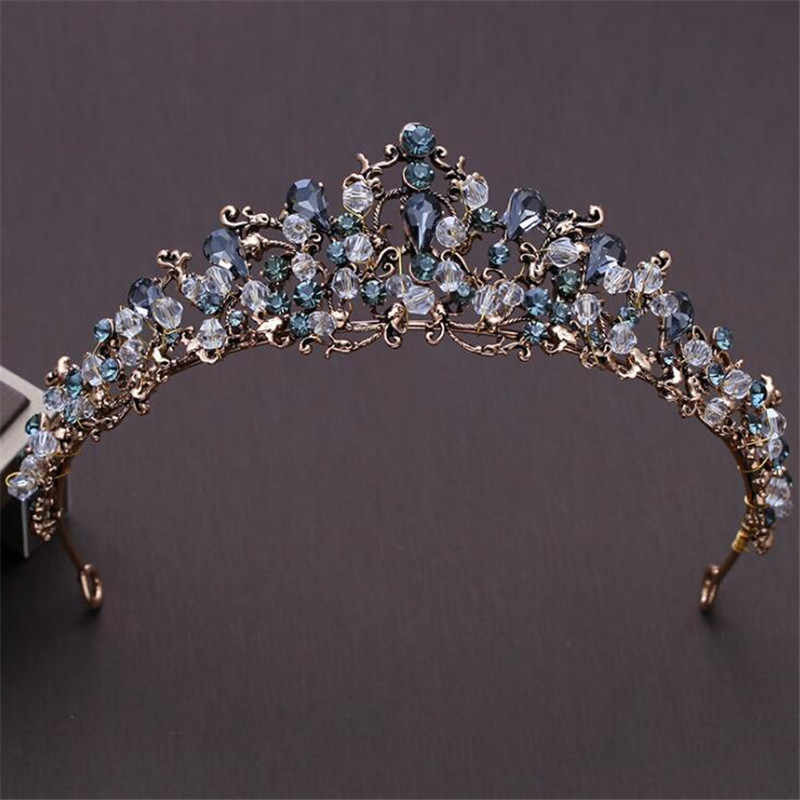 DIEZI Baroque White Blue Crystal Bridal Crown Tiaras For Women Wedding Hair Accessories Black Crowns Diadem Headbands Jewelry