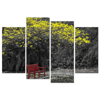 Canvas Wall Art Painting 4 Panel Yellow Trumpet Tree Park Red Bench Black And White Nature Landscape Photo On Canvas Home Decor