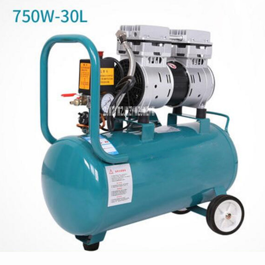 750-30L High Pressure Air Pump Portable Mute Oilless Air Compressor Copper Motor Two-Cylinder Air Compressor 220V 750W 1400r/min power bar style usb 2 0 4 port hub 50 cm cable