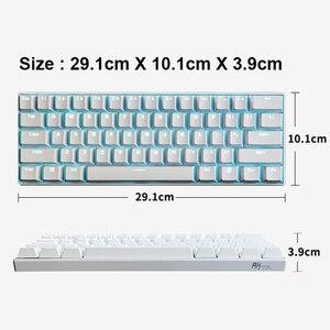 Image 5 - جديد 61 مفاتيح RK61 بلوتوث اللاسلكية الأبيض LED الخلفية مريح الألعاب الميكانيكية لوحة المفاتيح ألعاب مضيئة للكمبيوتر المحمول