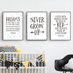 Scandinavia Nordic Never Grow Up Nursery Decor Canvas Printings Paintings POP Posters and Prints Wall Pictures Kids Room Decor