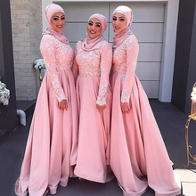 Saudi Arabia Muslim Pink Bridesmaid Dresses Modest Long Sleeve Wedding Guest Prom Dress Hijab Party dress vestido branco