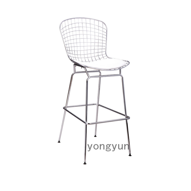 Minimalist modern replica bertoia Wire Kitchen bar stool lron Metal wire counter Chromed steel shell and PU cushion dining chair