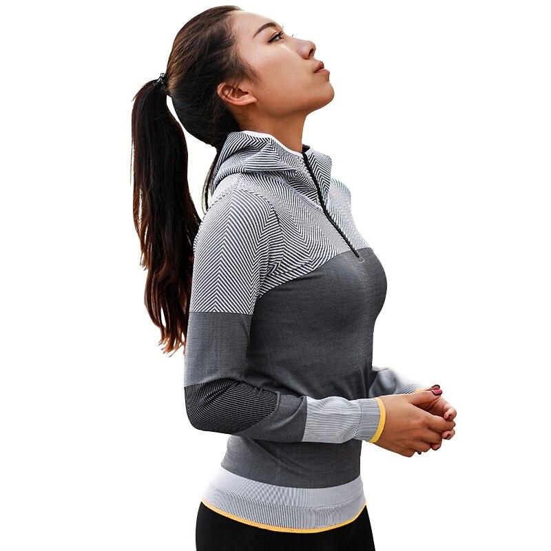2019 femmes t-shirt Sport Fitness course entraînement Gym chemises à capuche rayé entraînement t-shirt sec Fit exercice course t-shirts