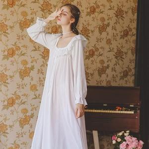 Image 4 - Pamuk Nightgowns Sleepshirt uzun elbise bahar kıyafeti uzun kollu pijama pijama kadınlar Vintage gecelik hamile kadın