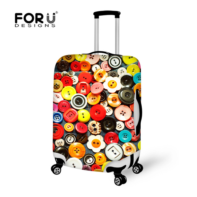 3D Colorful Button Luggage Protective Covers Unique Dust Rain Trolley Suitcase Cover Apply To 18-30 Inch Travel Trunk Case Bag