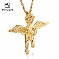 Kalen Vintage Gold Color Angle Pendant Necklace Stainless Steel Angle Boy With Wings Pendant Necklace Homme