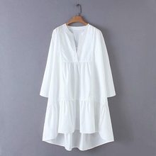 Summer women's dress elegant new women's loose casual show thin A word dress in the long round collar short-sleeve dress(China)