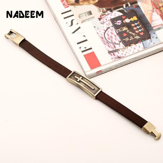 Купить мужской кожаный браслет nadeem коричневый винтажный на запястье